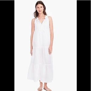 J. Crew white Tiered maxi beach dress small